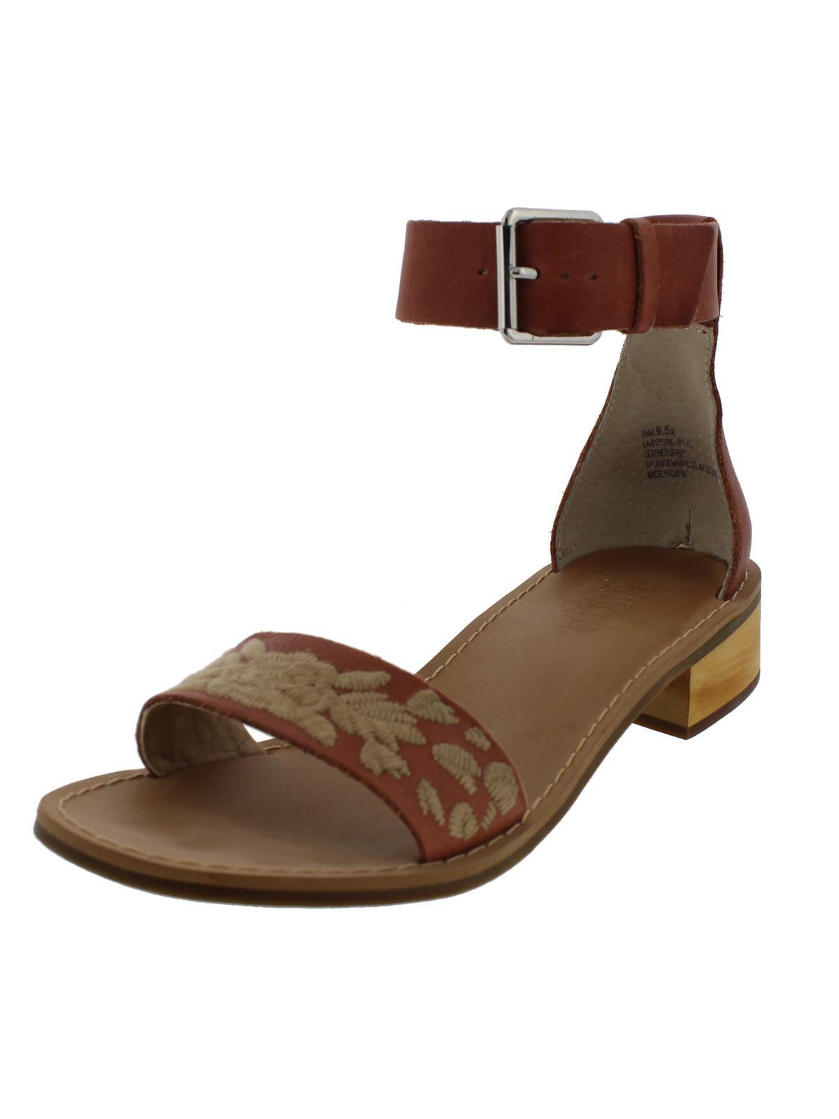 Latigo Womens Tana Leather Block Heel Dress Sandals Brown 9.5 Medium (B,M)