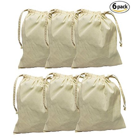 Earthwise Cotton Muslin Produce Bags with Drawstring for Grocery Shopping and Storing, Bulk Foods, Nuts, Grains, Spices Storage & Organizing 11.5