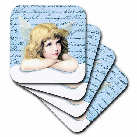 3dRose Blond hair Blue eye cherub - winged angel girl on cloud vintage art - light blue cupid shabby chic, Ceramic Tile Coasters, set of 4