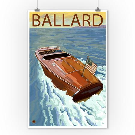 Ballard, Seattle, Washington - Chris Craft Boat - Lantern Press Artwork (9x12 Art Print, Wall Decor Travel Poster)