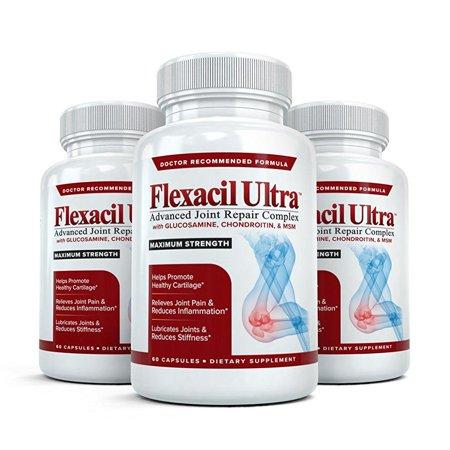 Joint Repair (flexacil ultra - (3 bottles, 60 caps each) the most advanced joint repair and pain relief formula - premium)
