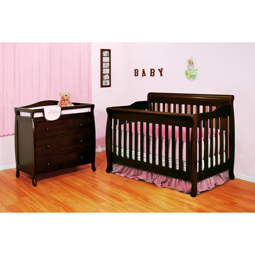 AFG Baby Furniture Athena Alice Crib with 2-Drawer Changer Dresser in Espresso