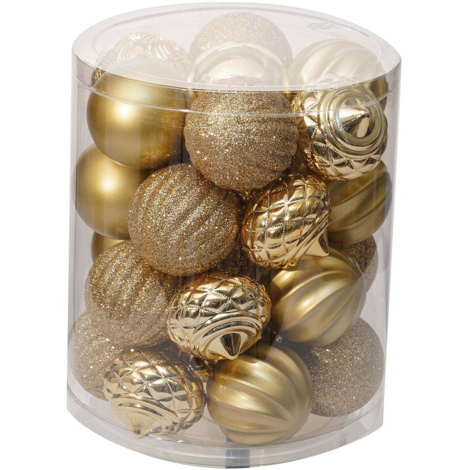 Holiday Time Christmas Ornaments Traditional 60mm Shatterproof, Set of 26, Gold