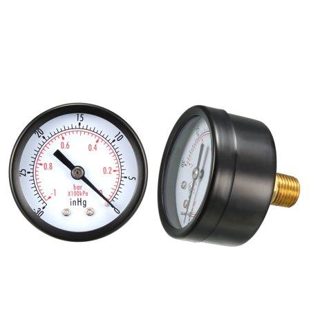 "Pressure Gauge , -30-0inHg Vacuum/Bar Dual Scale , 1.8"" Dial Display , 1/4"" BSPT Male Center Back Mount - image 1 de 4"