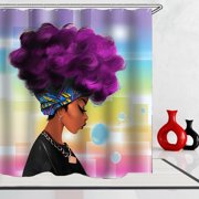 """71""""x71"""" Shower Curtain Waterproof African Girl Bathroom Set Fabric Polyester + 12 Hooks Rings Home Decor Christmas Gift"""