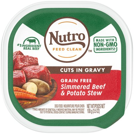 NUTRO Grain Free Wet Dog Food Cuts in Gravy Simmered Beef & Potato Stew, (1) 3.5 oz. Tray