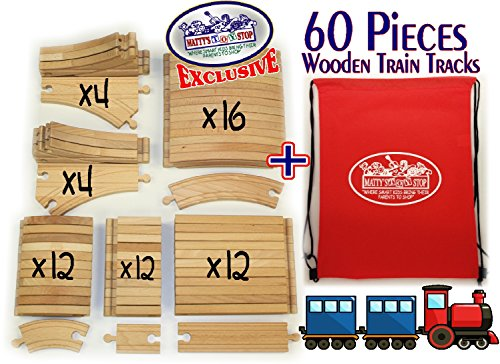 Deluxe Wooden Train Tracks 60 Piece Premium Quality Bulk Expansion Set with Exclusive... by Homeware