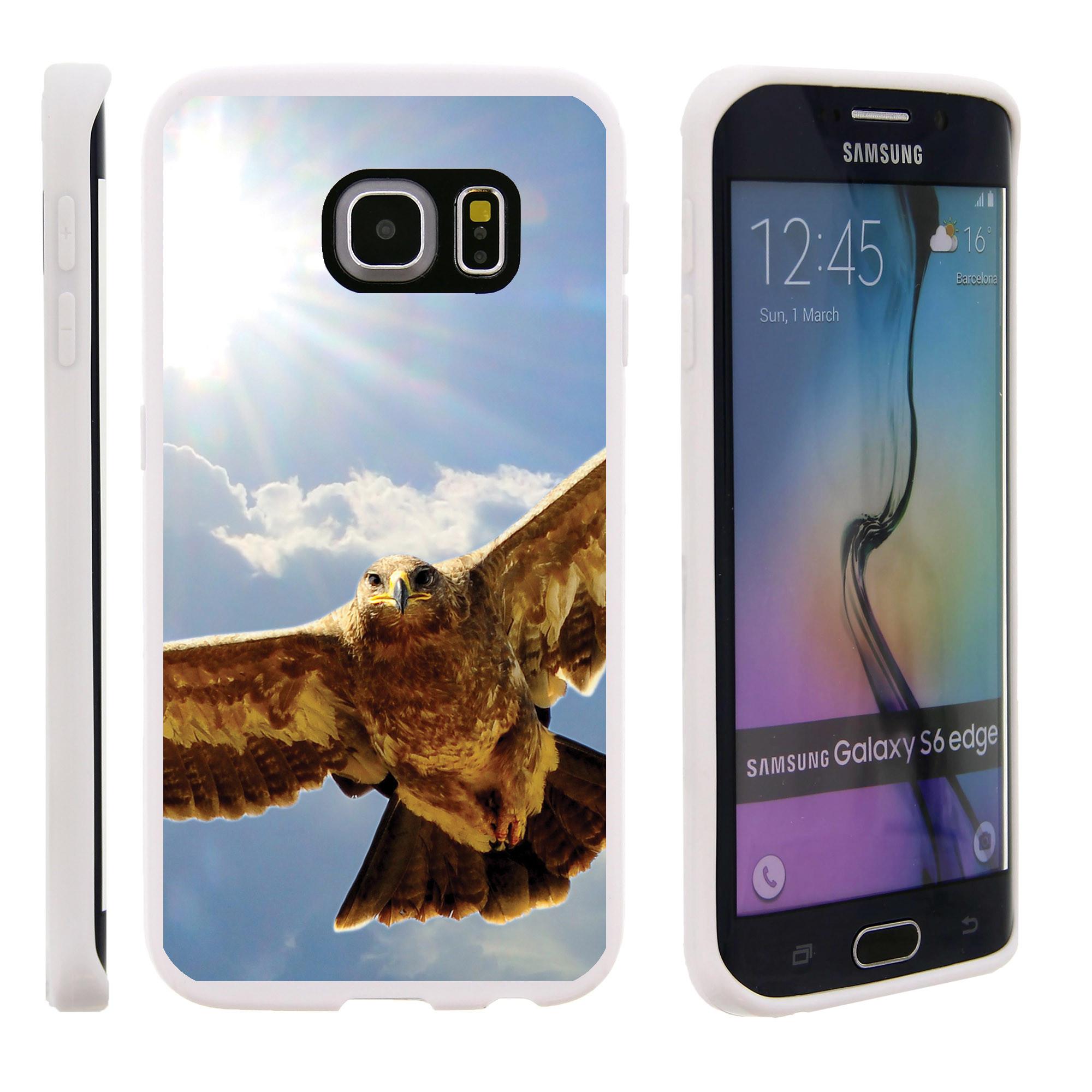Samsung Galaxy S6 Edge G925, Flexible Case [FLEX FORCE] Slim Durable TPU Sleek Bumper with Unique Designs - Eagle Flying