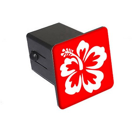 """Hibiscus Flower - White On Red 2"""" Tow Trailer Hitch Cover Plug Insert"""