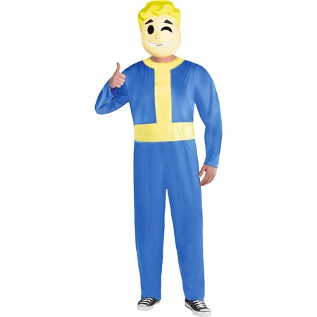 Vault Boy Halloween Costume for Men, Fallout Shelter, Plus Size, Includes Mask