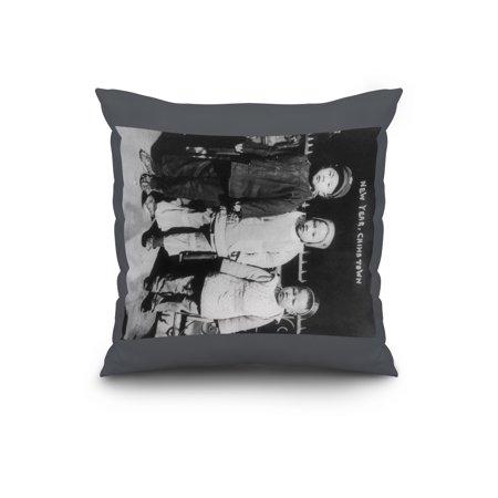 three children on new years in chinatown nyc photo 20x20 spun polyester pillow custom border walmartcom