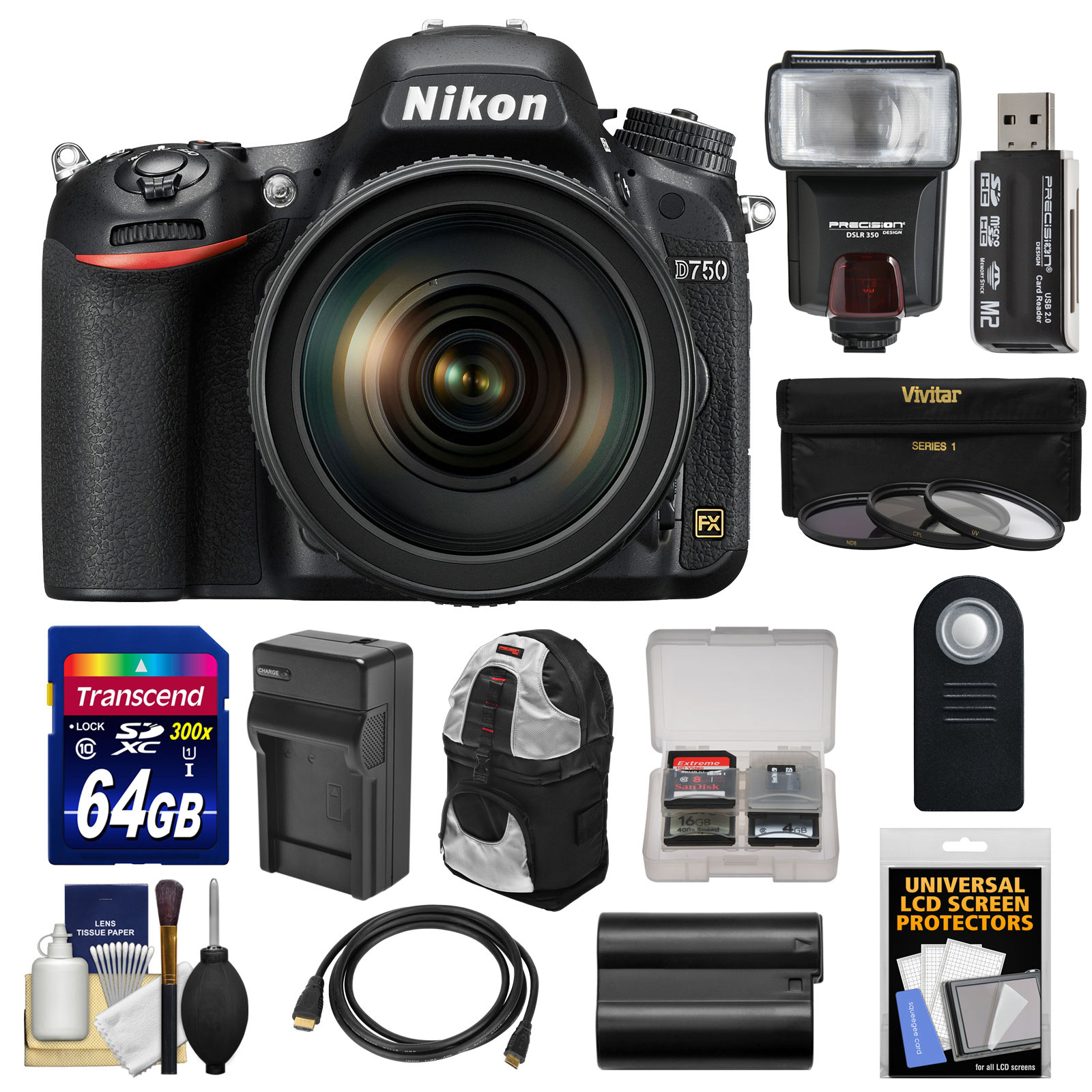 Nikon D750 Digital SLR Camera & 24-120mm f 4 VR Lens with 64GB Card + Battery & Charger + Backpack + 3 Filters... by Nikon
