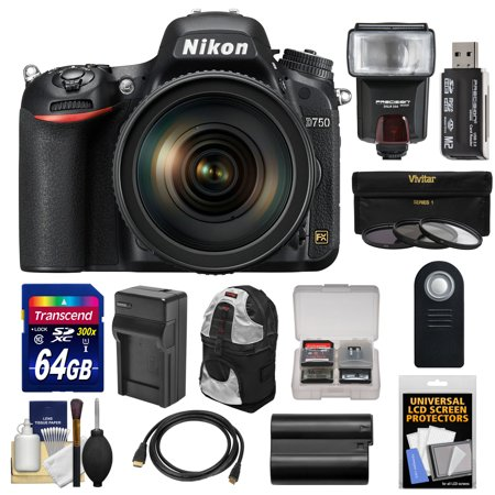 Nikon D750 Digital SLR Camera & 24-120mm f/4 VR Lens with 64GB Card + Battery & Charger + Backpack + 3 Filters + Flash +