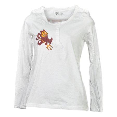 NCAA Arizona Sun Devils White Womens Long Sleeve Tshirt Button Crew Neck XSmall (Devil Ladies)