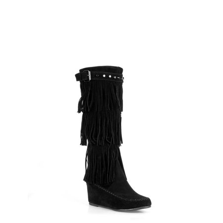 Nature Breeze Fringe Women's Moccasin Boots in
