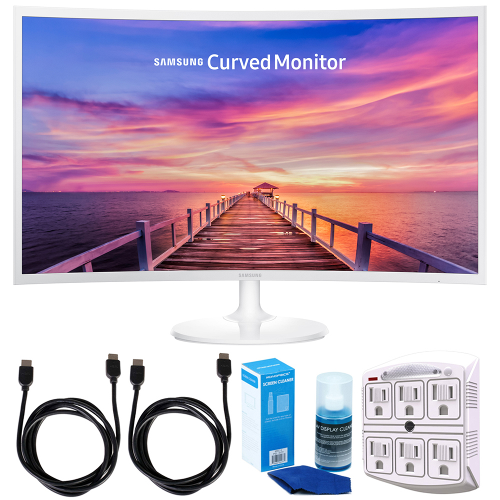 """Samsung CF391 Series 32"""" 1920 x 1080 LED Curved Monitor w/ Accessories Bundle Includes, 2x 6ft. HDMI Cable, SurgePro 6-Outlet Surge Adapter with Night Light & Screen Cleaner For LED TVs"""