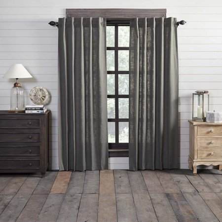 Charcoal Grey Farmhouse Curtains Regina Rod Pocket Cotton Tie Back(s) Textured Solid Color 84x40 Panel