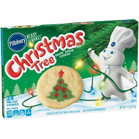 Pillsbury Ready to Bake Christmas Tree Shape Sugar Cookies - 24ct/11oz