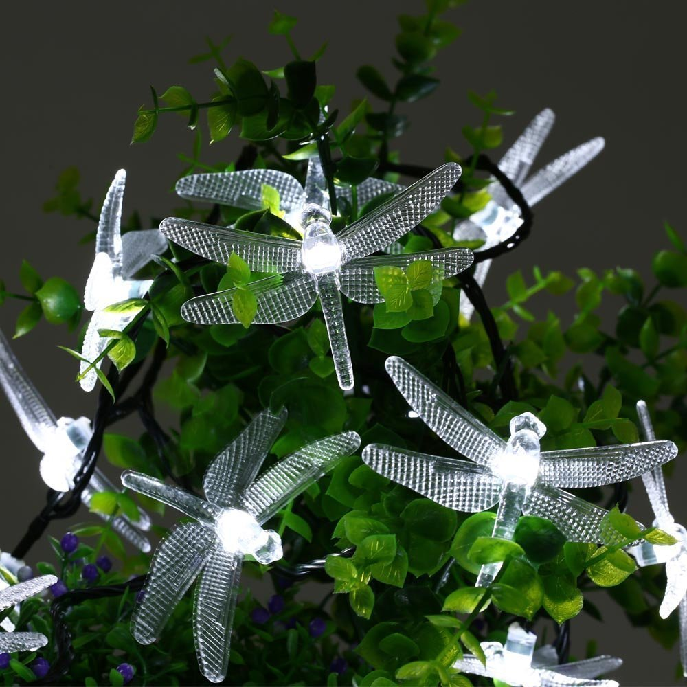 Qedertek Solar LED lights 19.6ft 30 LED Lights Dragonfly Fairy String Lights for Outdoor Indoor (White)