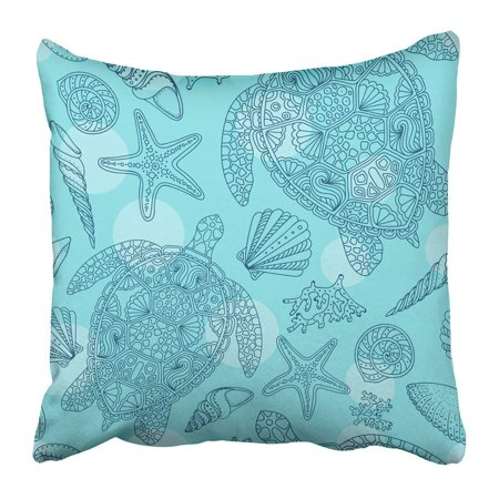 BPBOP Seashells Sea Stars Corals and Bubbles Marine with Starfishes Shells Mollusk Clam Collection Pillowcase 18x18 - Starfish Shell