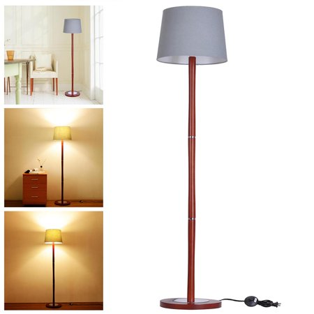 Yescom 575quot wooden detachable floor lamp cotton fabric for Oak floor lamp stand