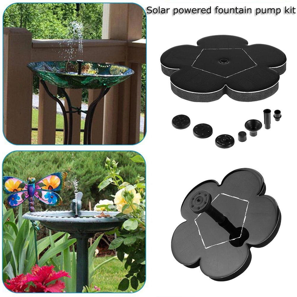 Solar Birdbath Fountain , 4 Nozzles Floating Solar Water Pump for Outdoor, Garden (2018 Upgraded)
