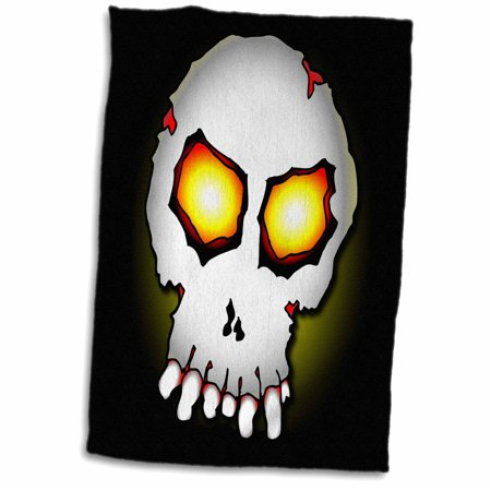 3dRose ZOMBIE SKULL halloween 2 on black with gradient - Towel, 15 by 22-inch - Zombie Towel