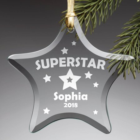 Personalized Superstar Glass Ornament