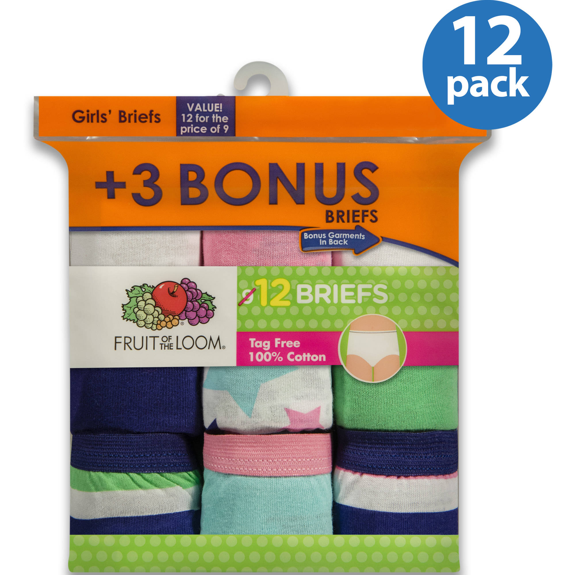Fruit of the Loom Girls' 100% Cotton Brief Panty, 9+3 Bonus Pack