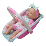 My Sweet Love 13-inch Baby Doll with Carrier and Handle Play Set, Light Skin Tone, 4 Pieces Included, Pink Theme