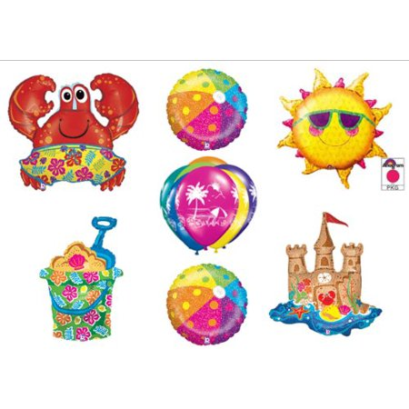 Beach Luau Crab Hawaiian Tropical Birthday Party Balloons Decorations Supplies by Balloon Emporium for $<!---->