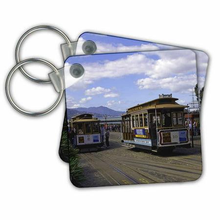 3dRose San Francisco Trolley Car - Key Chains, 2.25 by 2.25-inch, set of 2 San Francisco Trolley