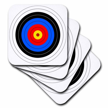 3dRose Target with red yellow black white and blue rings - archery, goal, sport, game, illustration - Soft Coasters, set of 4 - Archery Sets