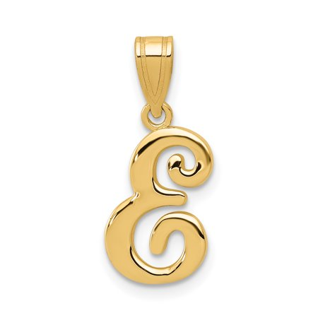 14k Yellow Gold E Script Initial Monogram Name Letter Pendant Charm Necklace Gifts For Women For Her 14k Gold Script Letter