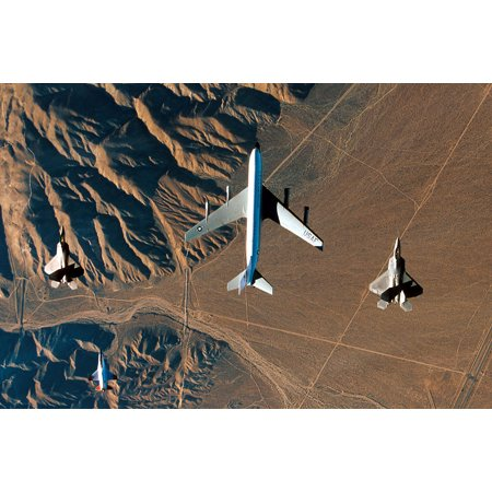 Canvas Print EDWARDS AIR FORCE BASE, Calif.Two F-22 Raptors flank a KC-135 Stratotanker from the 452nd Flight Stretched Canvas 10 x 14 Air Force Kc 135