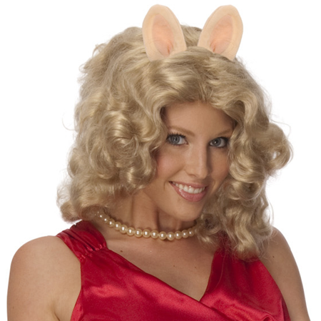 Miss Piggy Curly Blonde Wig w/ Ears & Pig Nose Costume Accessory Kit The Muppets