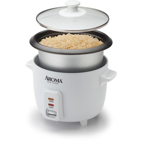 Aroma 6 Cup Non-Stick Pot Style White Rice Cooker, 3