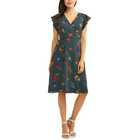 Flattering Floral Dress - Women's Wrap Front Floral Dress