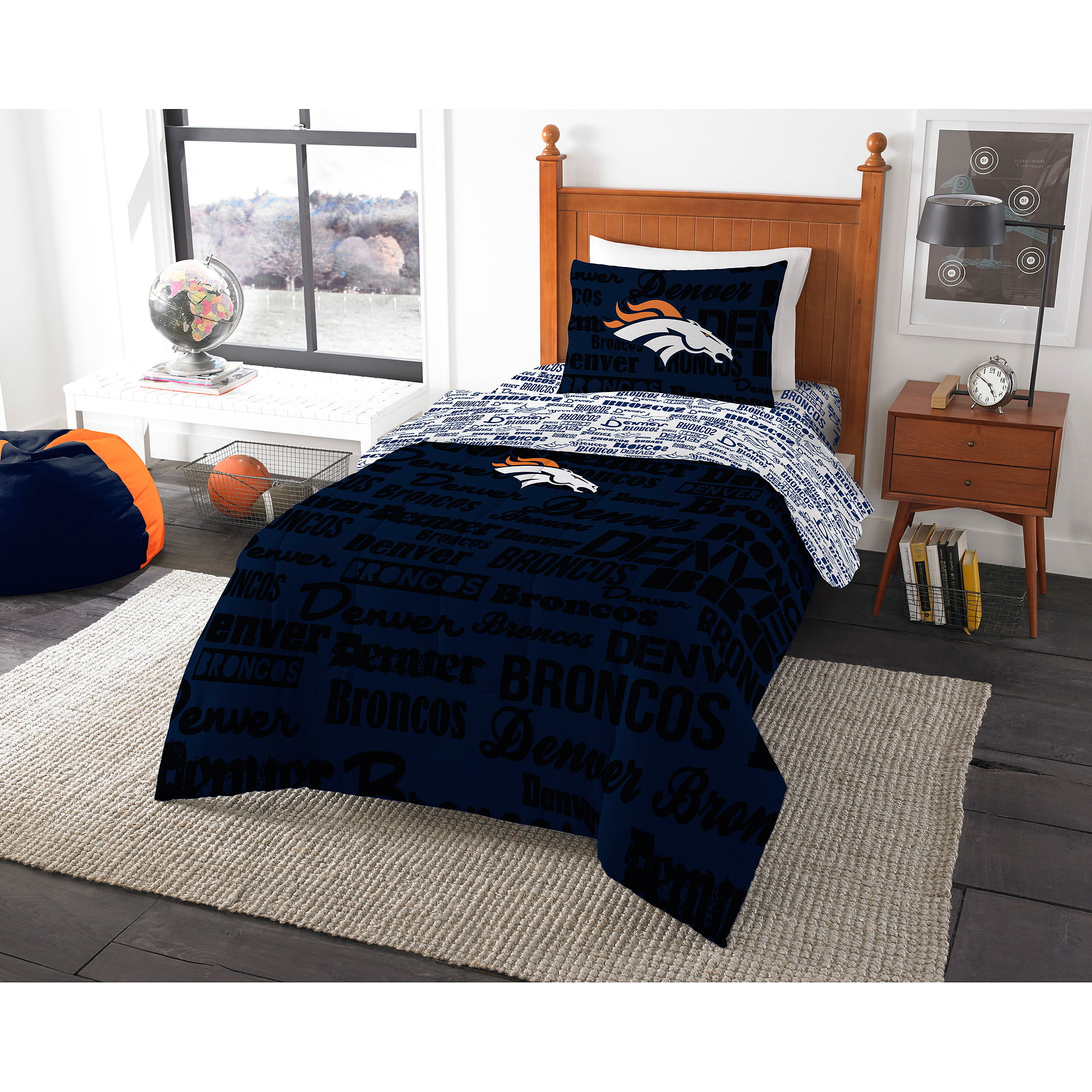 Nfl Denver Broncos Bed In A Bag Complete Bedding Set Walmart Com