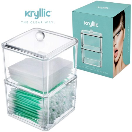 Kryllic Clear Acrylic Cotton Ball & Swab Storage Case - Organizer For Cotton Swabs, Q-Tips, Make Up Pads, Cosmetics & More - For Bathroom &
