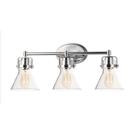 Maxim Lighting Seafarer - Three Light Bath Vanity With Bulb, Polished Chrome Finish with Seedy Glass
