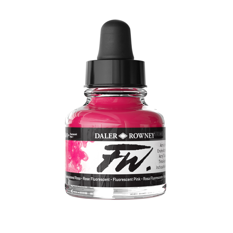 Daler-Rowney FW Acrylic Artists Ink, 1 oz. Dropper-Top Bottle, Fluorescent Pink,