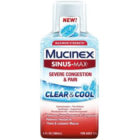 Mucinex Sinus-Max Clear & Cool Adult Liquid - Severe Congestion Relief 6 Oz. (Pack of