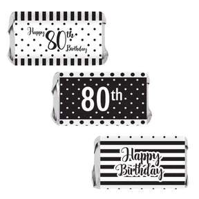 80th Birthday Candy Wrappers, 54 count - Black and White Stripe and Polka Dot Birthday Party Supplies - 54 Count Happy Birthday Stickers