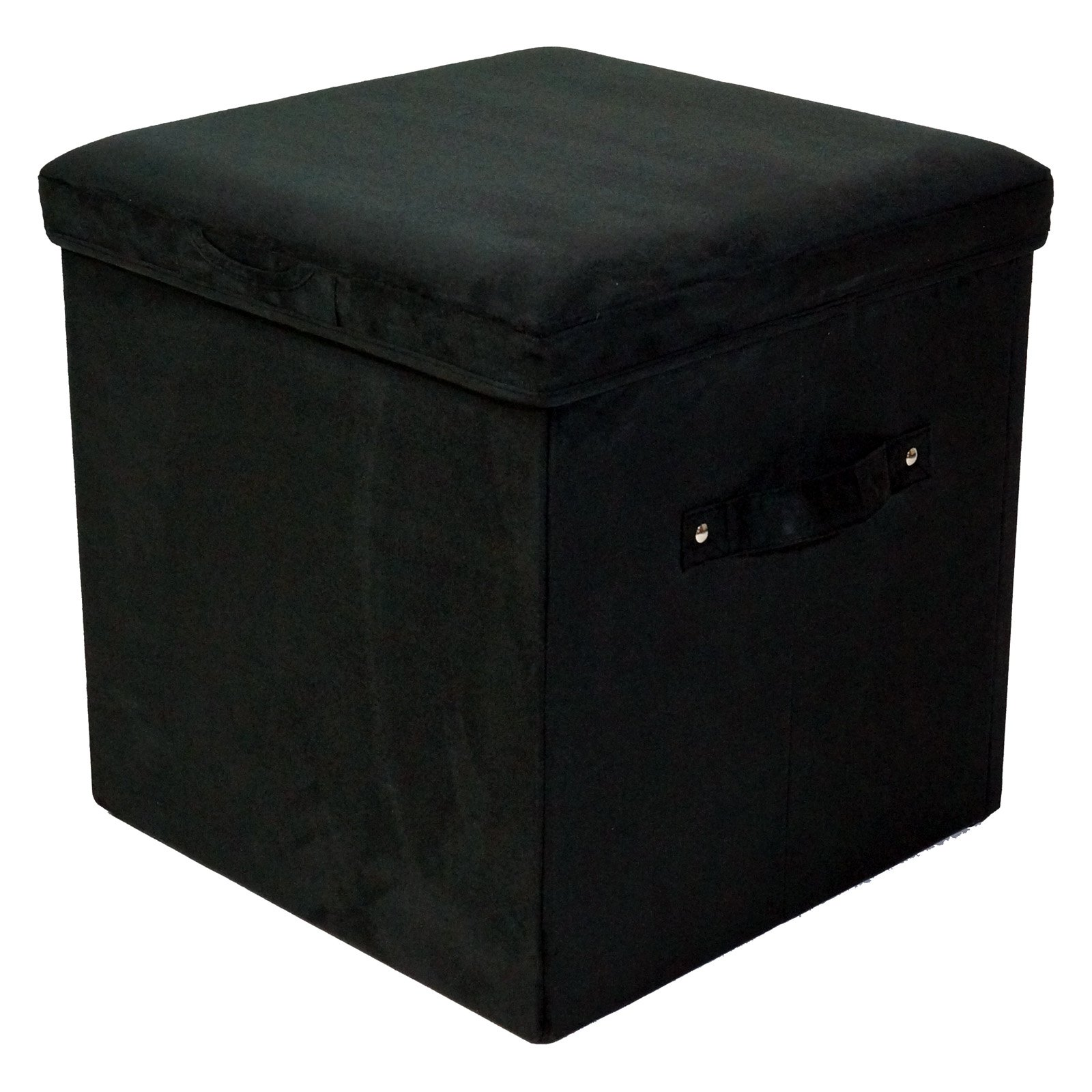 Seat Pad Folding Storage Ottoman. Micro Suede Cover-Black