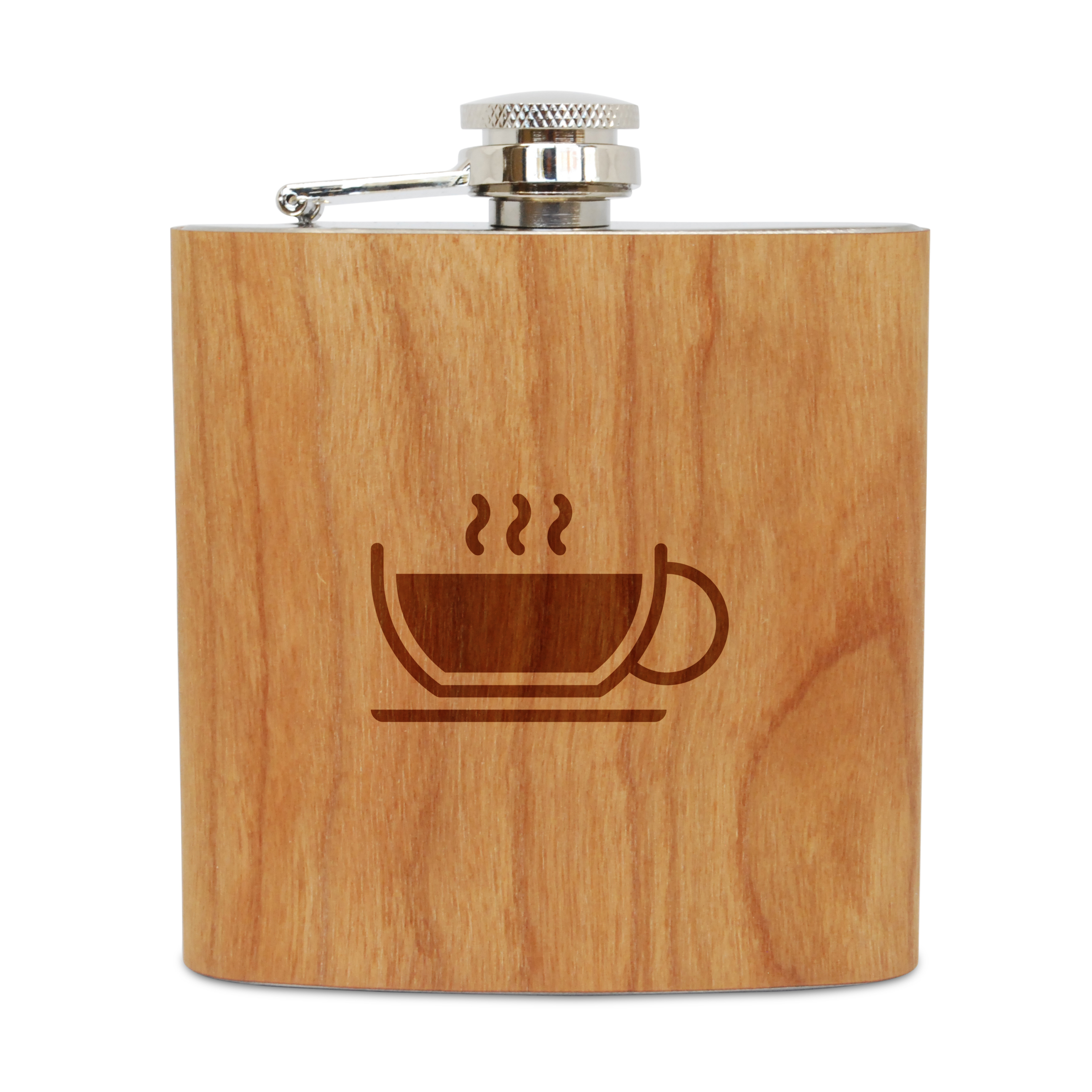 Latte Cup 6 Oz Wooden Flask (Cherry), Stainless Steel Body, Handmade In Usa