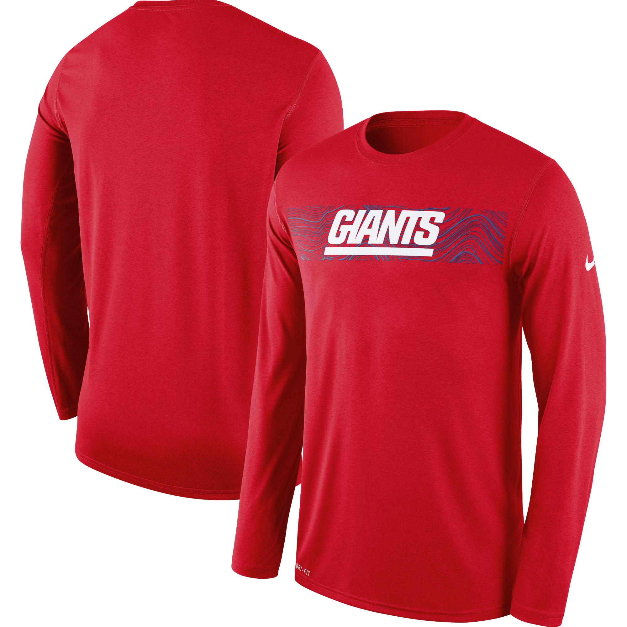 New York Giants Nike Sideline Seismic Legend Long Sleeve T-Shirt - Red