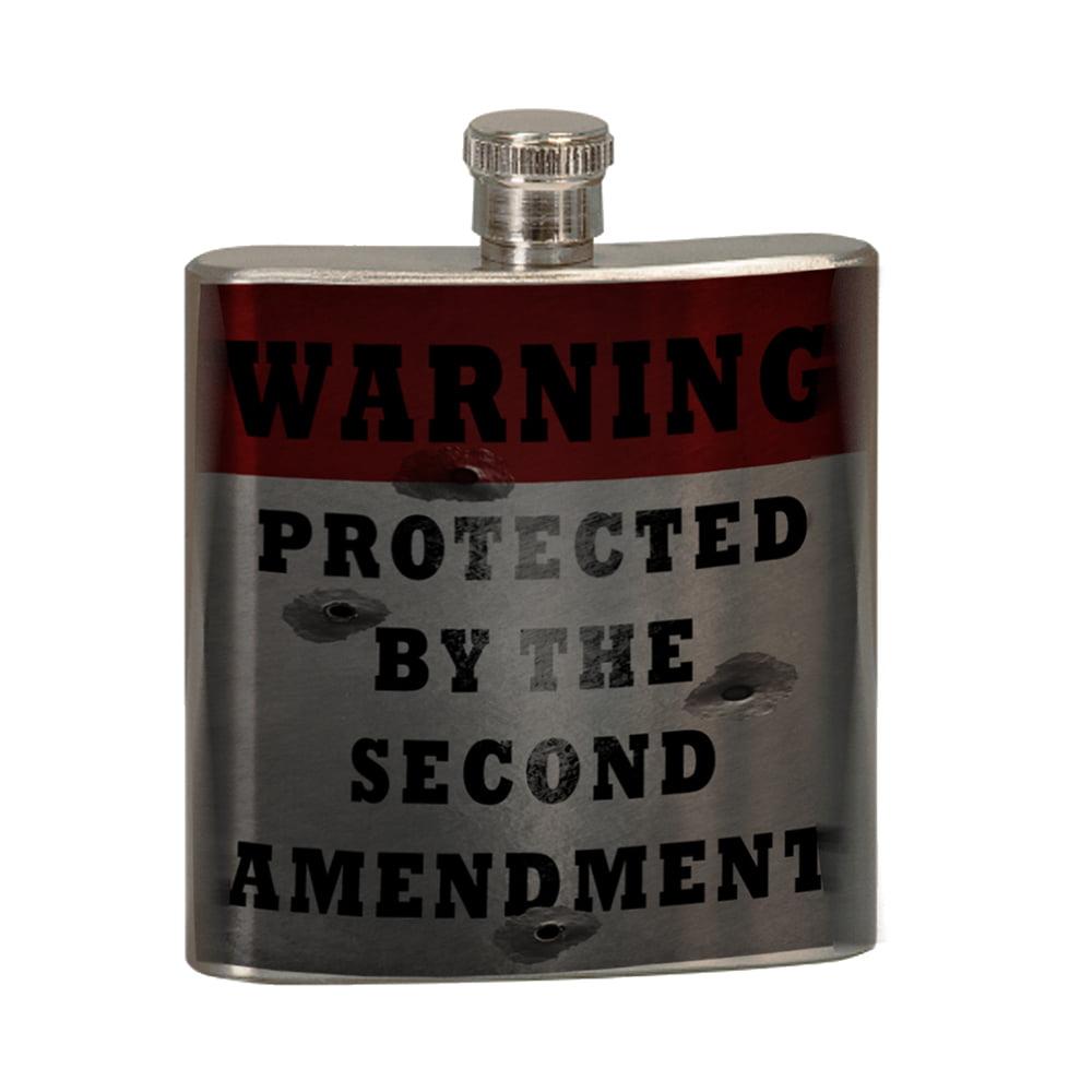 KuzmarK 6 oz. Stainless Steel Flask Set in Black Presentation Box -  Warning Second Amendment Bullet Holes
