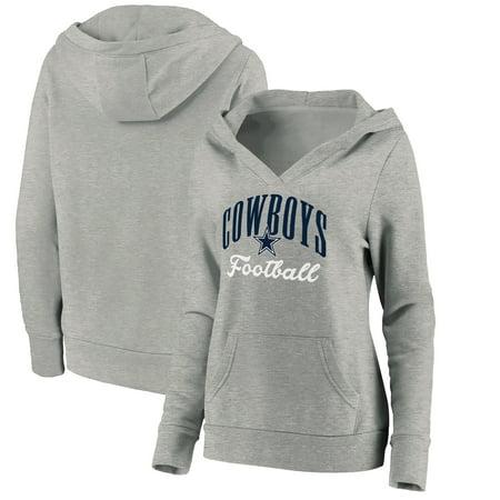Dallas Cowboys Fanatics Branded Women's Victory Script V-Neck Pullover Hoodie - Heathered Gray