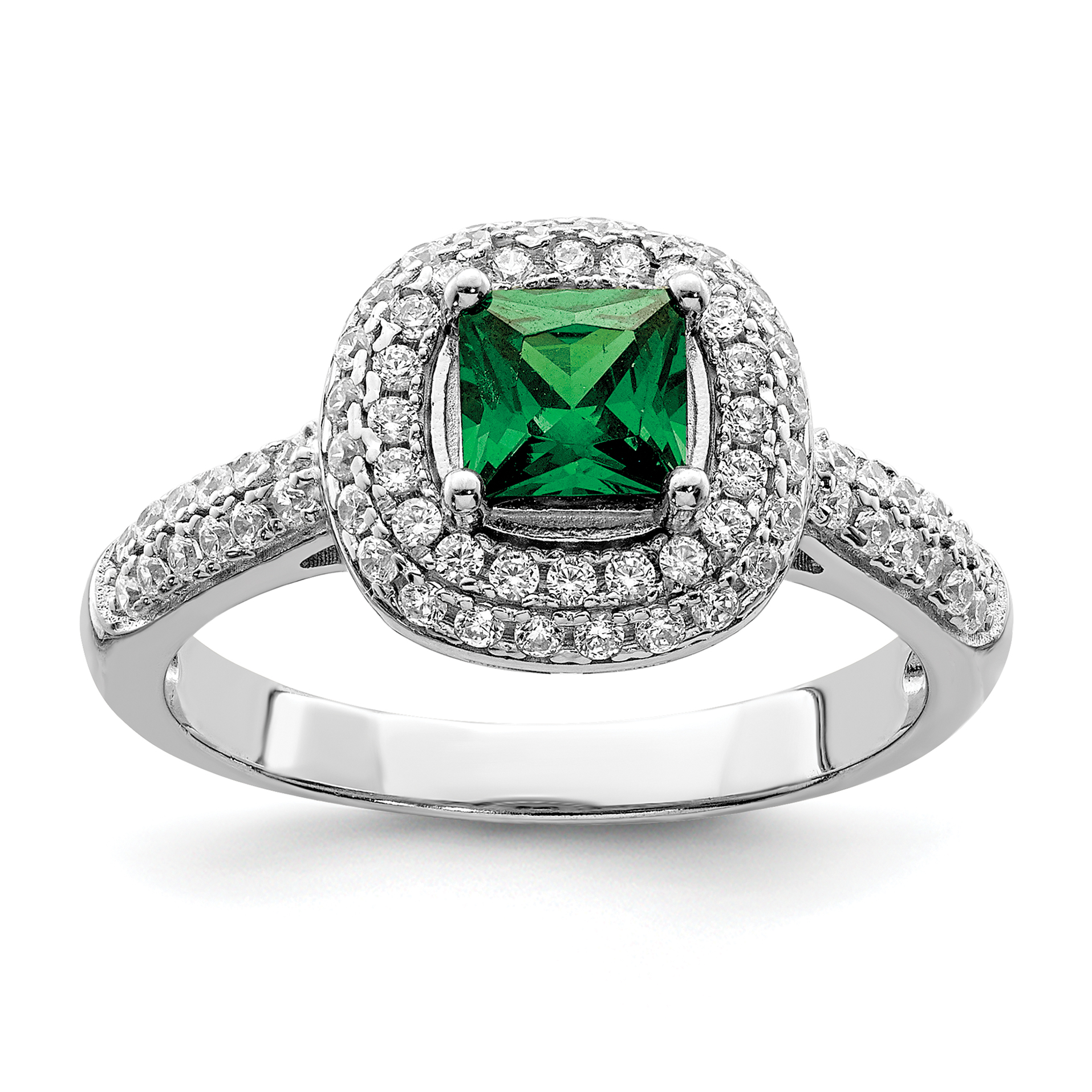 925 Sterling Silver White Green Cubic Zirconia Cz Band Ring Size 6.00 Fine Jewelry Gifts For Women For Her - image 3 of 3